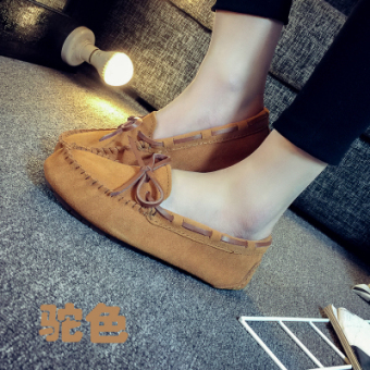Leather female flat Plus-sized comfortable casual shoes peas shoes (Camel)