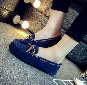 Leather female flat Plus-sized comfortable casual shoes peas shoes (Dark blue color)
