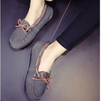 Leather female flat Plus-sized comfortable casual shoes peas shoes (Dark gray color)