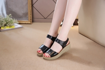 Leather female New style muffin mom shoes sandals (Black)
