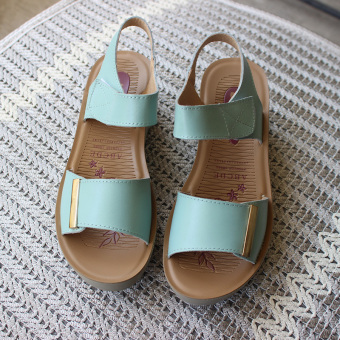 Leather female New style muffin mom shoes sandals (Light blue)