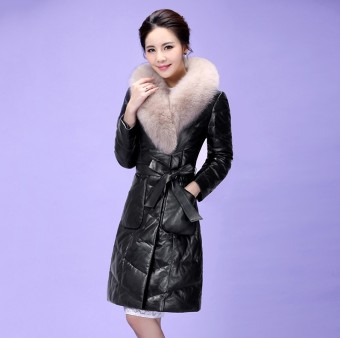 Leather female New style winter down jacket fur coat (6640 atmospheric black no cap)
