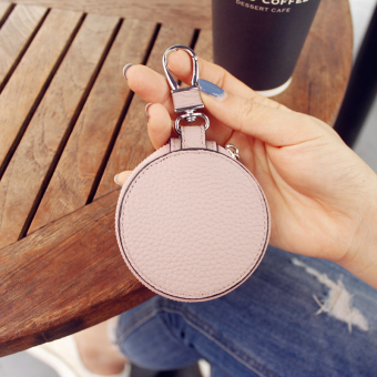 Leather first layer of embossed leather round mini key buckle key bag (Pink) (Pink)
