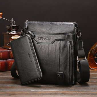 Leather Handbag High Quality Crossbody Bag Satchel Bag Vertical Section Male Korean Leisure Calfskin Business Messenger Bag (Black /1 Wallet Inside)