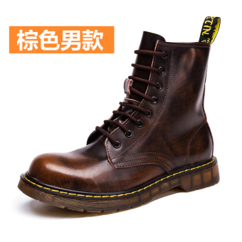 Leather men warm boots Dr. Martens (Brown male models)