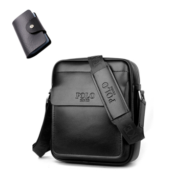 Leather men's backpack New style men's bag ((To send card holder) black mini No.)