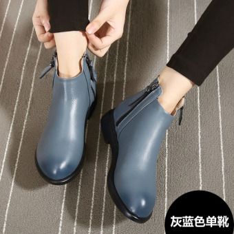 Leather New style winter flat versatile women's shoes Martin boots (Gray Blue single boots)