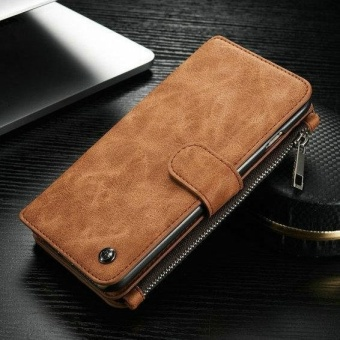 Leather Removable Wallet Flip Card Case Cover for Iphone 6 Plus(Brown) - intl