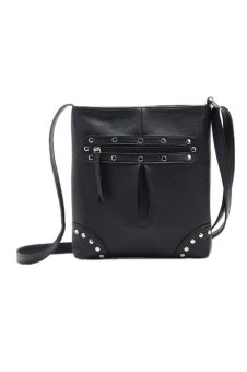 Leather Satchel Messenger Bag Black
