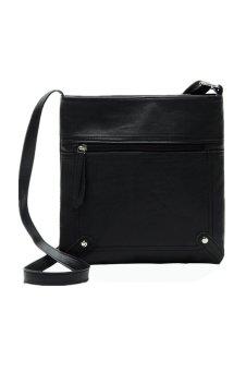 Leather Satchel Shoulder Bag (Black)