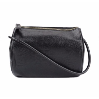 Leather Sling Bag Black Cylinder Body Bag Casual Bag Fashion CrossBody Bag