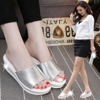 Leather slip muffin flat sandals women's slippers (Silver)