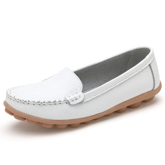 Leather summer flat hollow nurse shoes (White (Four Seasons shoes))