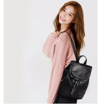Leather Tassled Backpack (black)