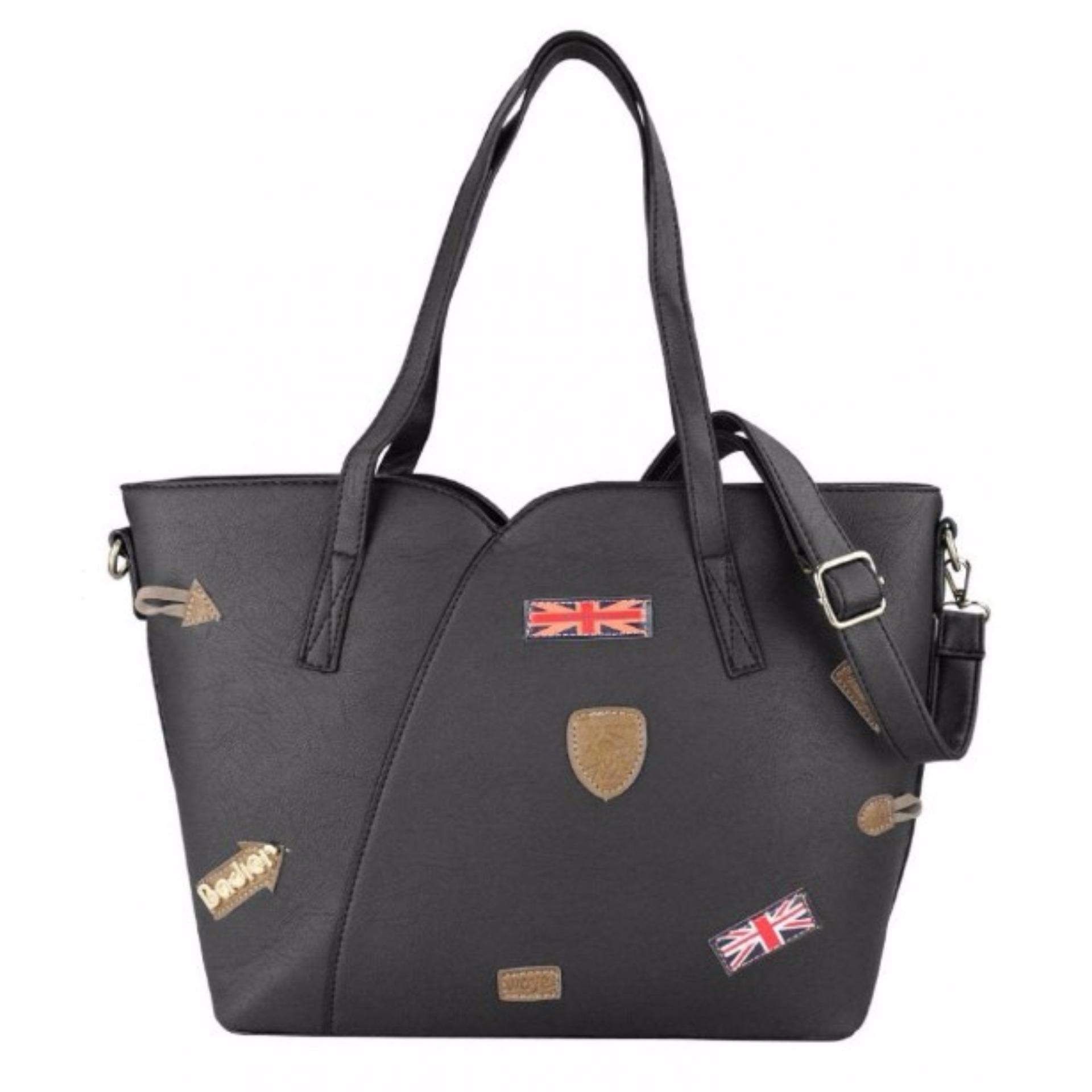 ... Leather Tote Bag Korean Fashion Badge Design Black Casual Bag Shoulder Bag with Sling Office Bag ...