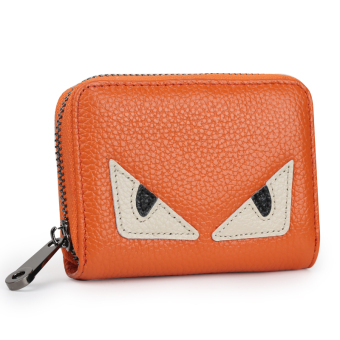 Leather women's credit card sets organ card holder (Orange small monster [first layer of leather])