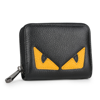Leather women's credit card sets organ card holder (Small monster Black [first layer of leather])