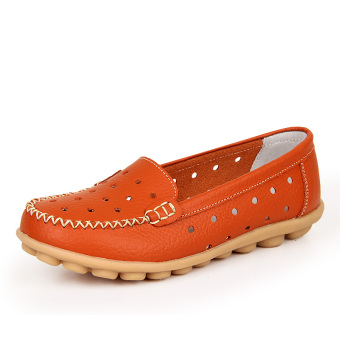 Leather Work nurse shoes moccosins (Orange color (summer punching))
