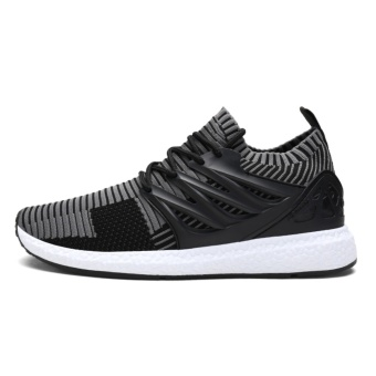 Lechgo Men Trend Fly Weave Runnning Sock Shoes Boost Soft SolesCasual Sport Shoes (Grey) NYY132 - intl - 3