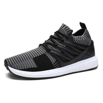 Lechgo Men Trend Fly Weave Runnning Sock Shoes Boost Soft SolesCasual Sport Shoes (Grey) NYY132 - intl