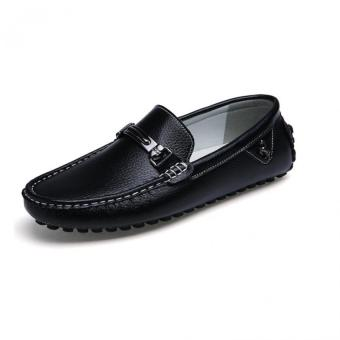 Lechgo Men's TODS Leather Flats Shoes Slip-Ons Black - Intl
