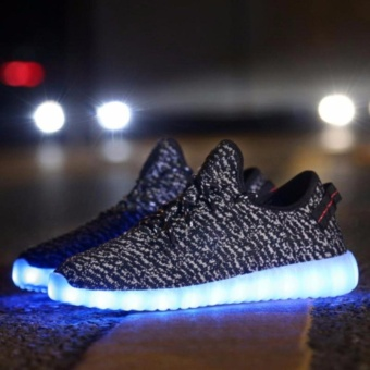 LED Light Lace Up Luminous Shoes Sportswear Sneaker Luminous Unisex Casual Shoes grey - intl