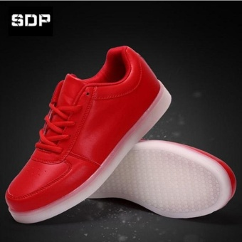 Led Luminous Shoes For Boys Girls Fashion Light Up Casual Kids 7Colors USB Charge Sneakers New Simulation Sole Glowing ChildrenLace- Up Sneakers(EU Size 25-46 /Red) - intl