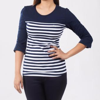 Lee Women 3/4 Sleeves Basic Fit Tee (Airforce Blue/White) - 4