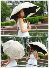 leegoal Compact Lace Wedding Parasol Folding Travel Sun Umbrella UV Block Apricot intl