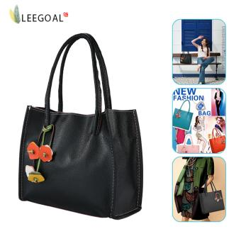 leegoal Large Capacity Candy Color Handbag- PU Leather Women Tote Bag -Black