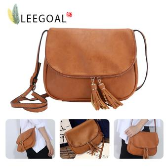 Leegoal Women PU Leather Crossbody Bag Tassel Shoulder Bags, Brown- intl
