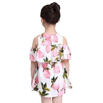 Lemon Print Off The Shoulder Fashion Dress For Girls Clothes (Pink) - intl - 2