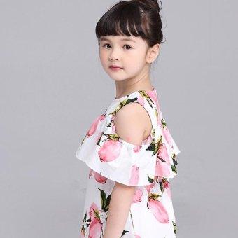 Lemon Print Off The Shoulder Fashion Dress For Girls Clothes (Pink) - intl - 5