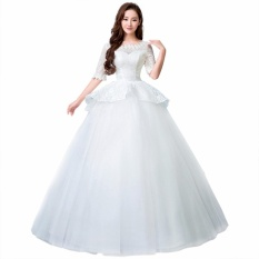 Leondo Boat Neck Ball Gown Wedding Dress Ivory Floor Length Lace Half Sleeves Intl