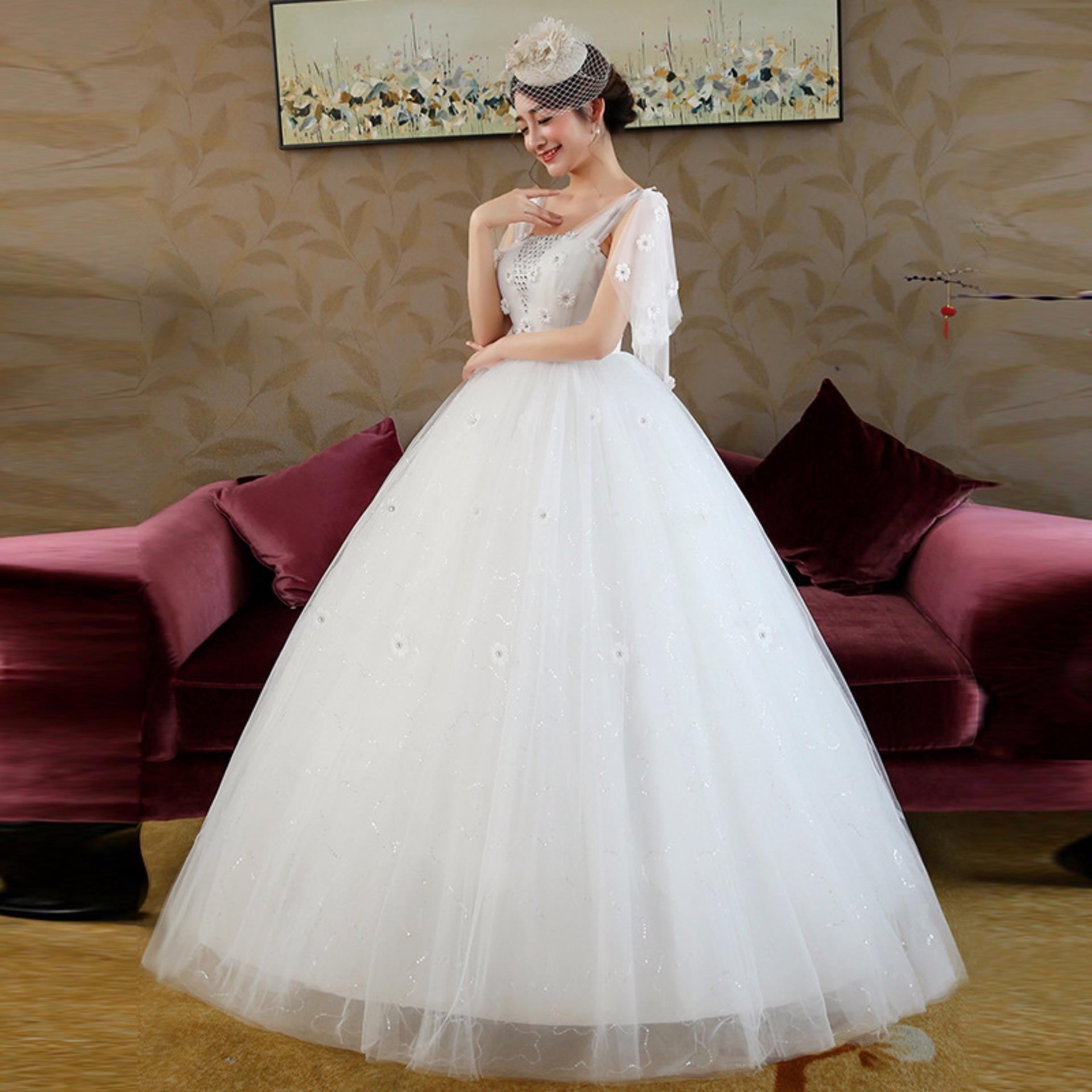 Philippines   Leondo floor length ball gown wedding dress flower v ...