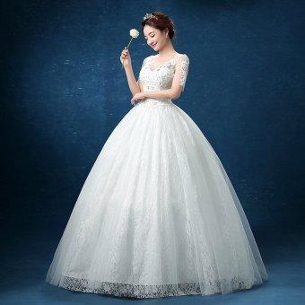Leondo floor length wedding dress v neck half sleeves (ivory) soft net skirt bridal gowns - 2