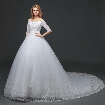 Leondo half sleeves wedding dress long train lace off the shoulder ivory bridal gwons - intl