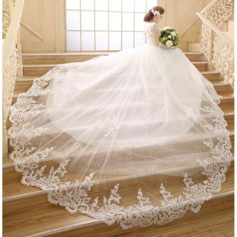Leondo ivory long train bridal gowns v neck lace wedding dresses - intl