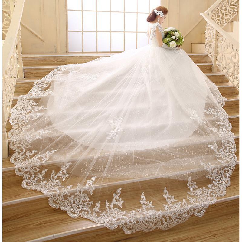 Leondo Ivory Long Train Bridal Gowns V Neck Lace Wedding Dresses