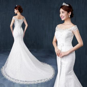 Leondo ivory wedding dress bridal mermaid long dresses lace off the shoulder with crystal sequins beaded - intl