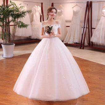 Leondo Lace Bridal Dress Beaded Off the Shoulder Sleeveless Women's Wedding Dress For Bridal Ball Gown - intl