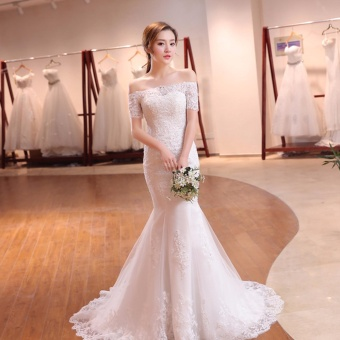 Leondo Lace Bridal Dress Off the Shoulder Short Sleeve MermaidWedding Dress For Bridal Gowns with Sequins - intl