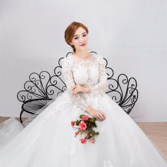 Leondo Plus Size Wedding Dress O-Neck Appliques Sequins Long Sleeve Pregnant Wedding Gown for Bridal Dress Church Train - intl - 2
