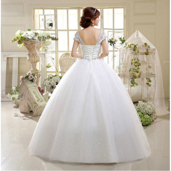 Leondo strapless a-line ivory ball gown plus size wedding dresses with short sleeves - intl - 4