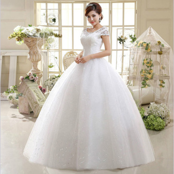 Leondo strapless a-line ivory ball gown plus size wedding dresses with short sleeves - intl - 3