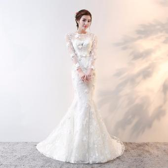 Leondo Women's Mermaid Wedding Dress Sheer Long Sleeve Lace Bridal Gowns Wedding Gowns with Flowers - intl