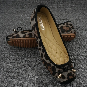 Leopard woman's head flat shoes scoop shoes (Gray)