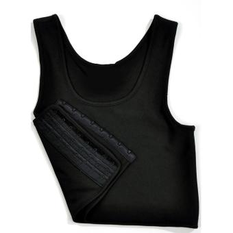 Les Tomboy Women Breathable Buckle Short Chest Breast Binder (Black) - intl