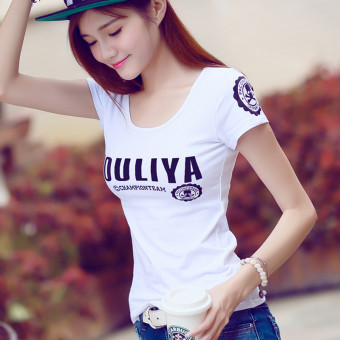 Letter cotton short-sleeved t-shirt Korean-style Top (White)