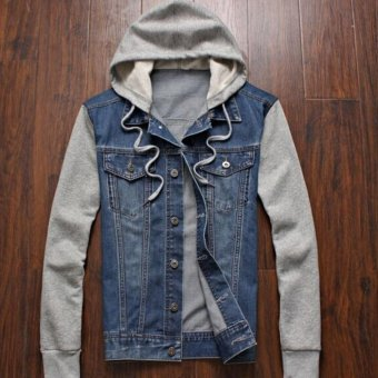 Leyi Men can remove the hooded jean jacket Blue - intl
